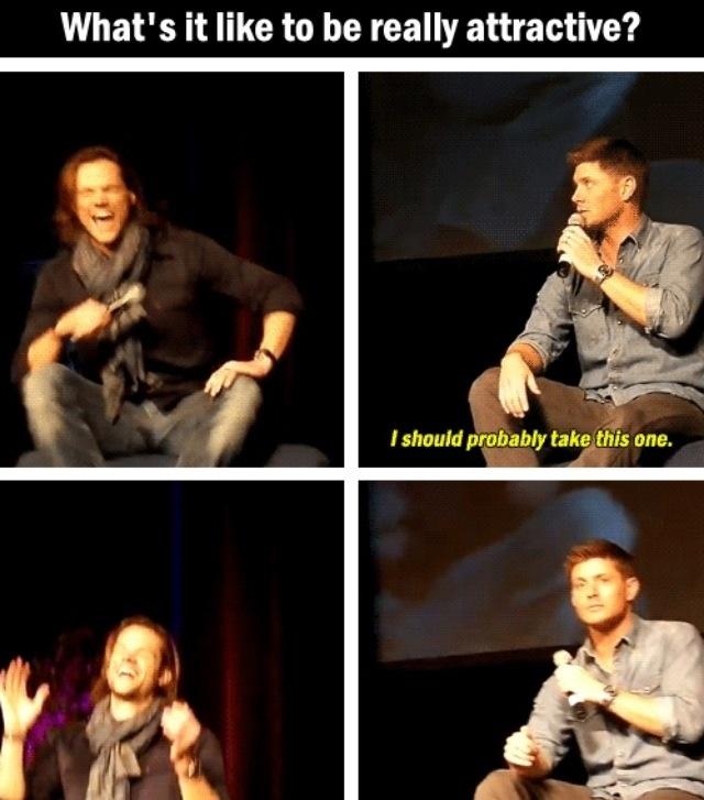 Hahahhaha, Jared's reaction is the best part. #supernatural #jaredpadalecki #jensenackles