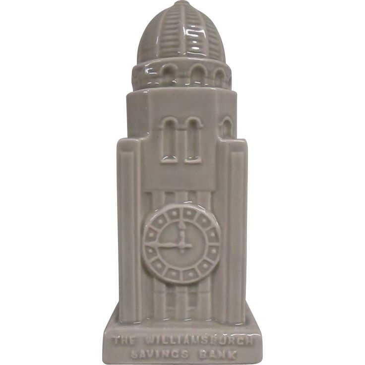 This ceramic coin bank is a replica of the famous Williamsburg Savings Bank built in 1927/29 and located in Brooklyn, NY.  At that time it was the