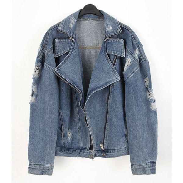 Denim jacket - Biker Girl found on Polyvore