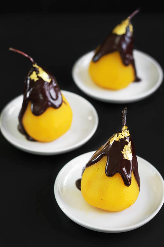 Sprinkle Bakes: 24 Karat: Saffron Poached Pears with Chocolate