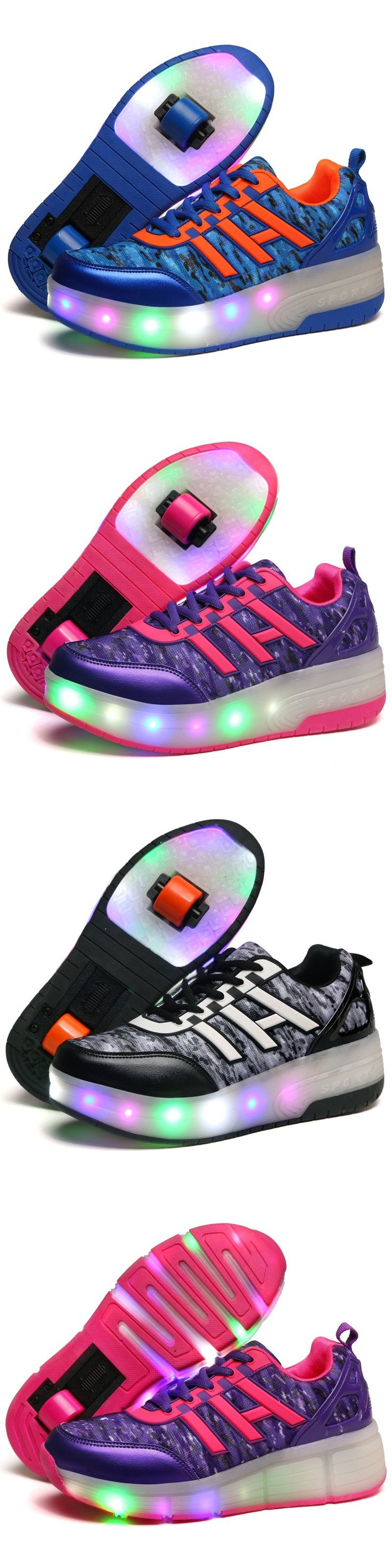 Skate shoes types - 2017 Children Led Heelys Roller Skate Shoes With Wheels Girls Boys Light Wheelys Kids Shoes Pink Black Jazzy Junior Sneakers