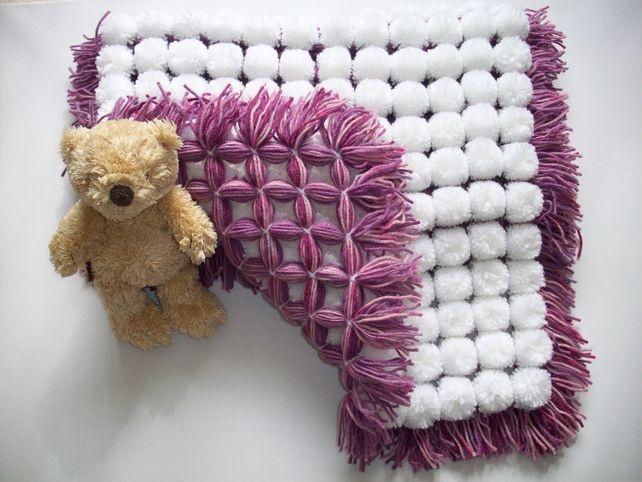 "Baby Pom Pom blanket 20"" x 28"" by Kate's Korner"