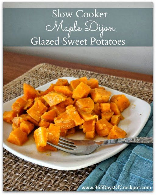 Easy Crockpot Recipe for Maple Dijon Sweet Potatoes...perfect side dish for Thanksgiving!  #thanksgiving #yams #sweetpotatoes