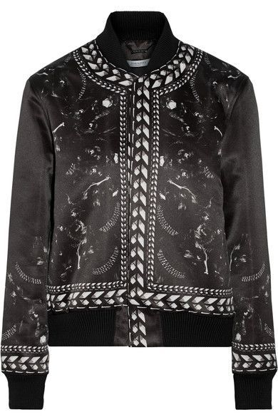 GIVENCHY Panther Printed Duchesse-Satin Bomber Jacket. #givenchy #cloth #jackets