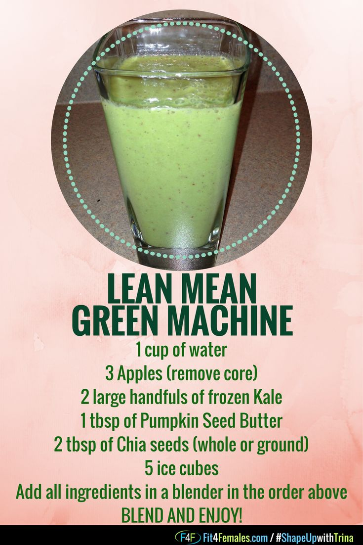 Fit4Females Lean Mean Green Machine.  This is a great smoothie for breakfast, as a cleanse and to help your fitness, nutrition and health journey.  REPIN