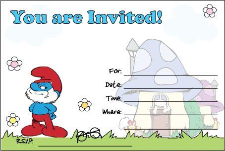Smurfs Invitation Craft Projects Pinterest Templates