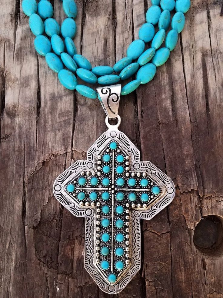 COWGIRL Bling CROSS Stamped Silver tone Turquoise beads Southwestern NECKLACE  #baharanch #necklace