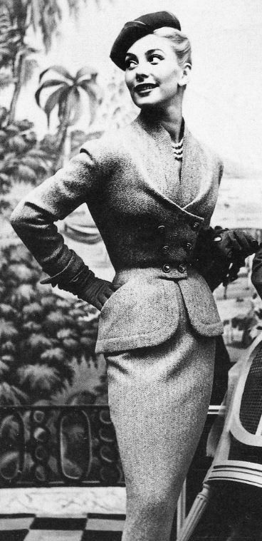 Pierre Balmain Suit, 1953. The draping and detail in that jacket is masterful!!