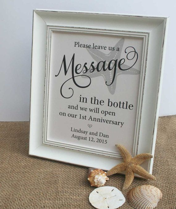 Wedding Guest Book Beach Message In The by RecipeBox on Etsy