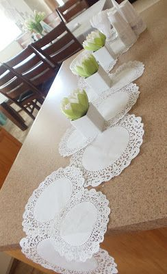 Baptism decorating ideas - like the doily runner, potted plans with sticks coming out, and printables