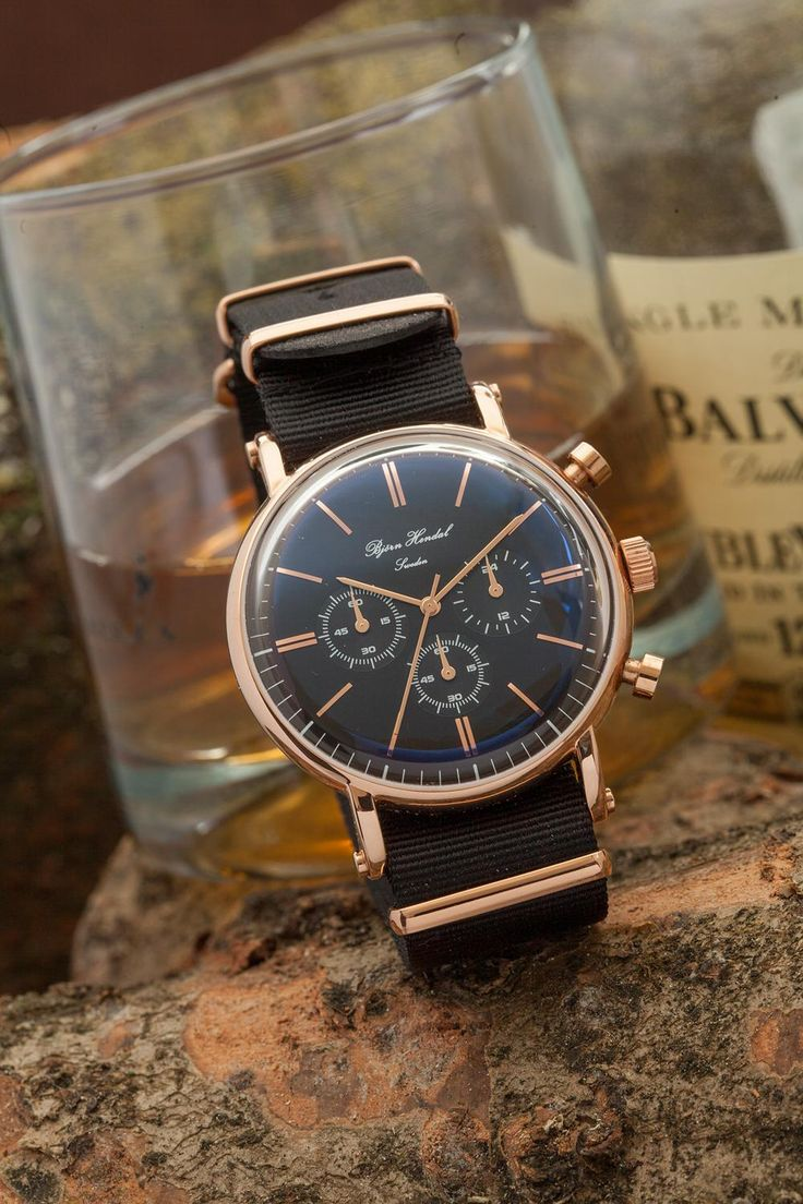 Bjorn Hendal Black and Rose Gold and matching nato strap