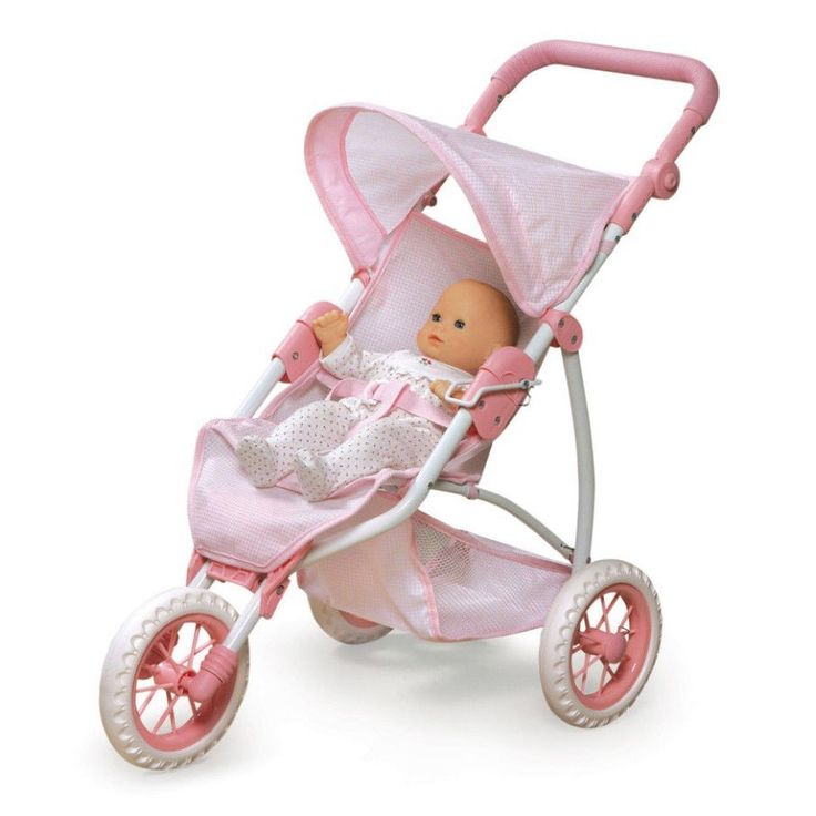 Baby Doll Stroller Jogging 3 Wheel Folding Under Basket Canopy 20 Inch Dolls #dollstroller #joggerstroller #dollpram
