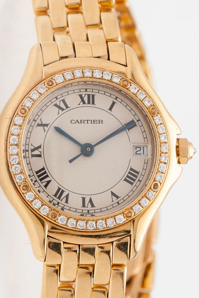 Estate $20,000 Factory Diamond 18k Yelllow Gold MIDSIZE Cartier Ladies Watch…