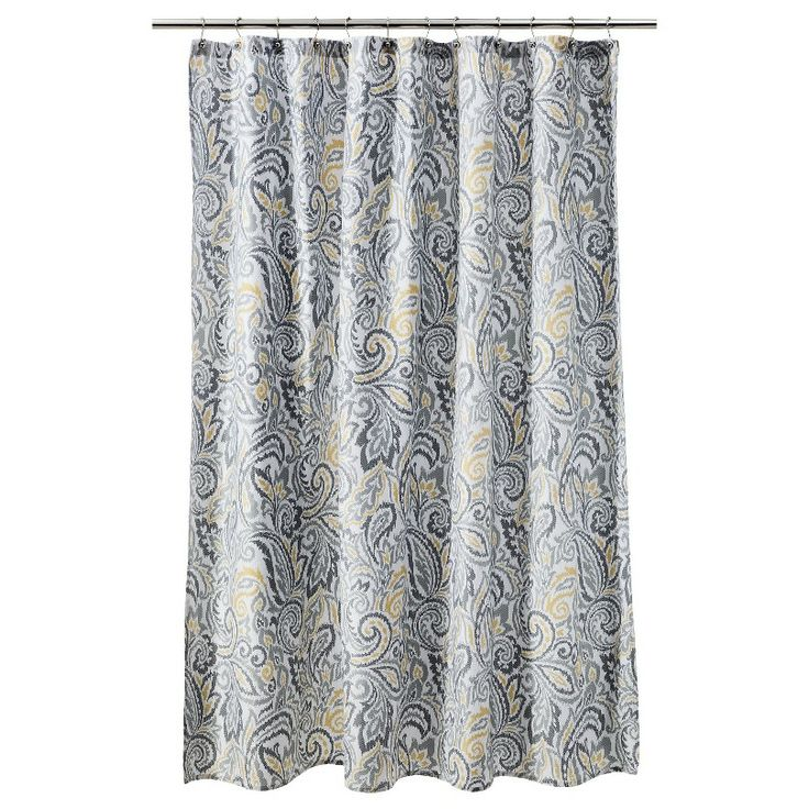 Umbra Curtain Rod Brackets Floral Paisley Shower Curtain