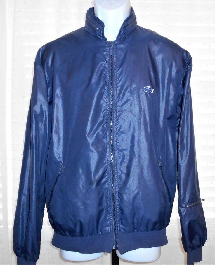 Vintage Izod Lacoste Blue Nylon Hooded Zip Front Windbreaker Jacket Men's Size M #IzodLacoste #NylonWindbreakerZipFrontJacket