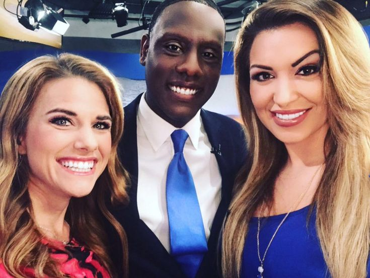 Popular Indianapolis-based CBS 4 weather forecaster Lindsay Riley (left), huddled together with her colleagues in news and traffic, Frank Mickens and Rachel Bogle, to post this office selfie after another day's successful broadcasting of breaking news, weather and traffic updates.