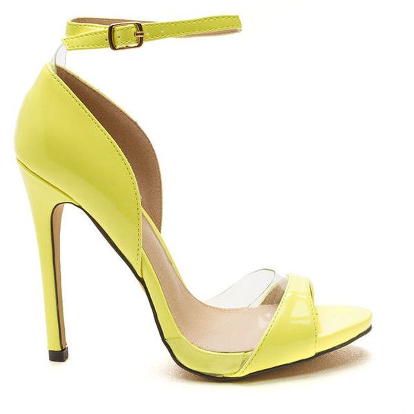 Clearly Cool Faux Patent Heels NEONYELLOW ($23) ❤ liked on Polyvore featuring shoes, pumps, yellow, high heel shoes, yellow stilettos, high heels stilettos, high heel pumps and ankle strap high heel pumps