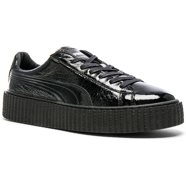Fenty by Puma Cracked Leather Creepers ($150) ❤ liked on Polyvore featuring men's fashion, men's shoes, shoes, mens creeper shoes, mens platform shoes and puma mens shoes