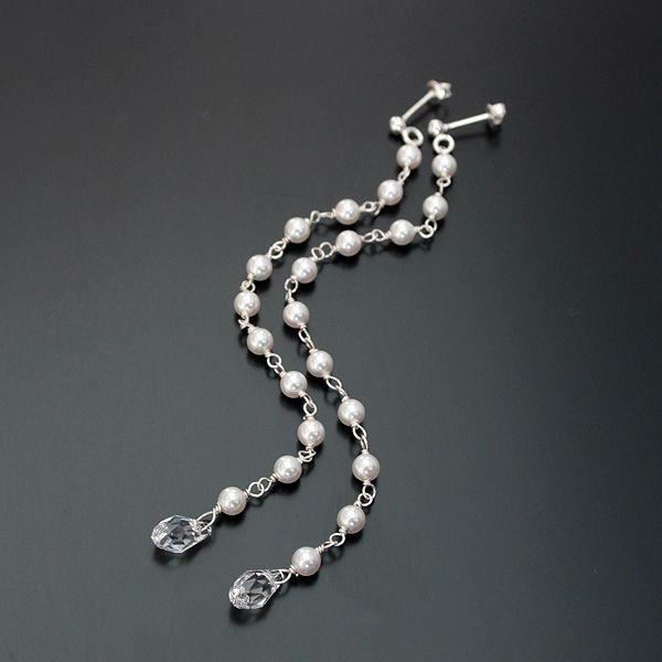 White Swarovski Pearls and transparent Briolette drops.