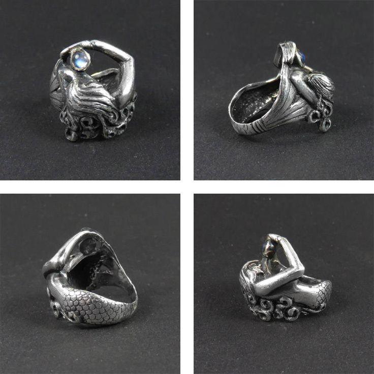 Sirène bague bague en argent Sterling anneau Style Art