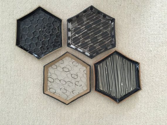 Four hexagonal ceramic dishes by CSatterleeCeramics on Etsy
