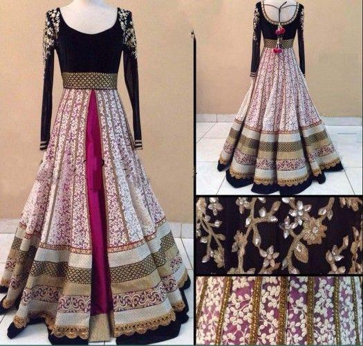 Designer Wear Multicolor Net And Velvet Gown Bogglingshop.com
