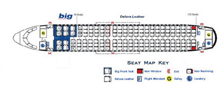 Spirit Airlines Airbus A319 Jet Aircraft Seating Layout