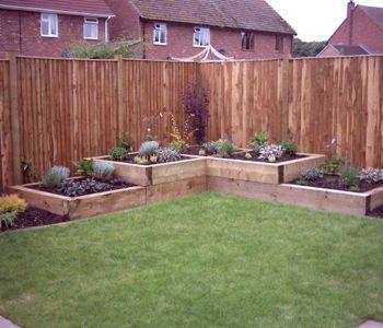 Corner of garden raised bedding idea