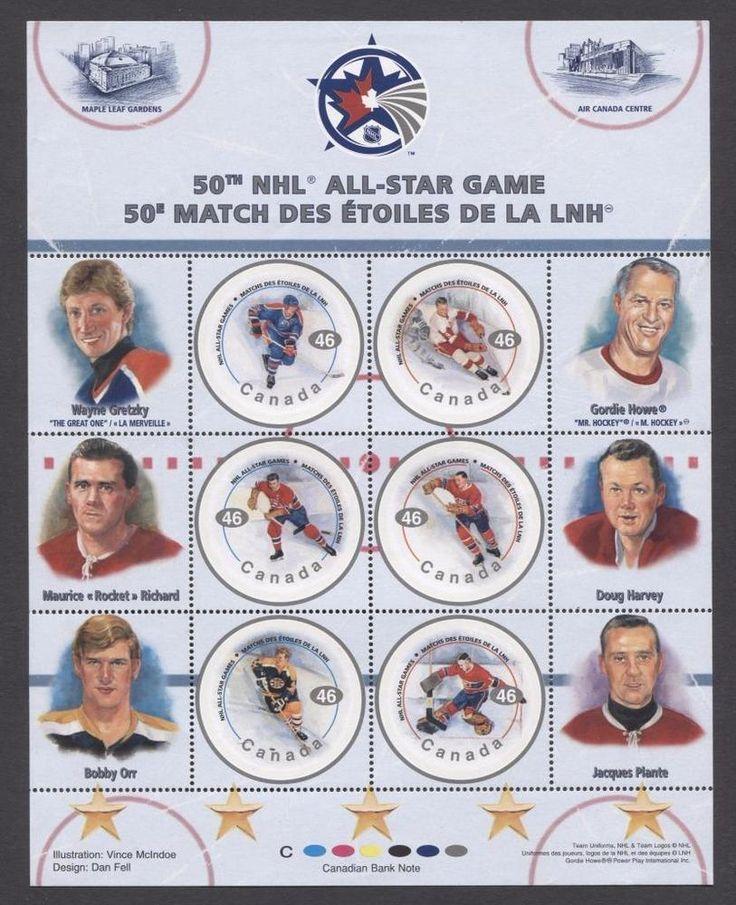 Canada #1838 $2.76 2000 NHL All Stars Pane of 6 DF/DF Paper - VF-84 NH | eBay