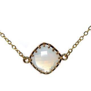 Verstelbaar kort gouden ketting opaal facet geslepen half edelsteen sieraden trends musthave
