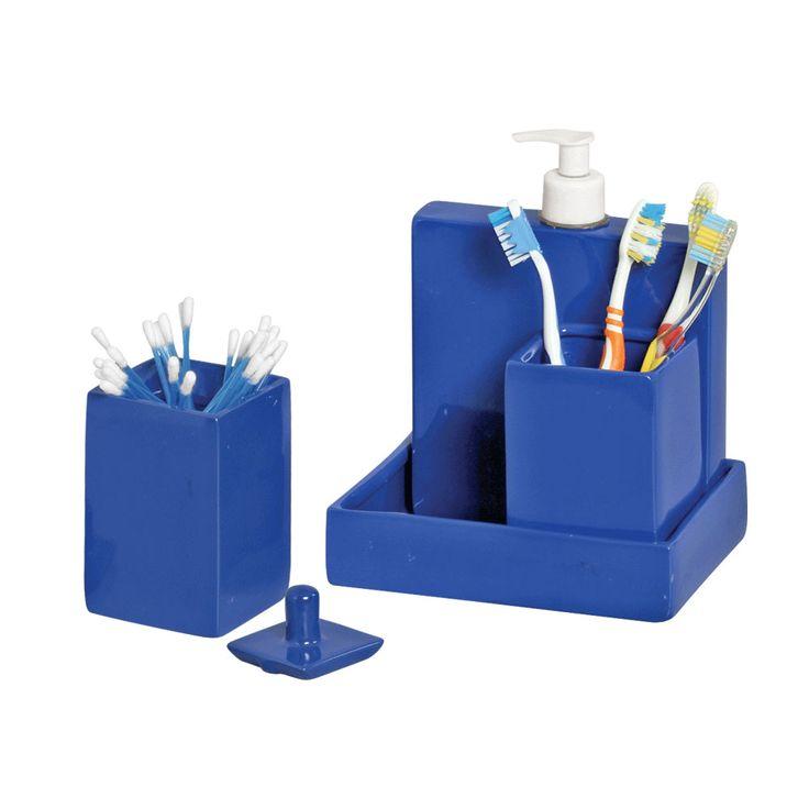 Kit Para Bancada De Banheiro Em Porcelana : Kit decorativo para banheiro azul cer?mica burguina