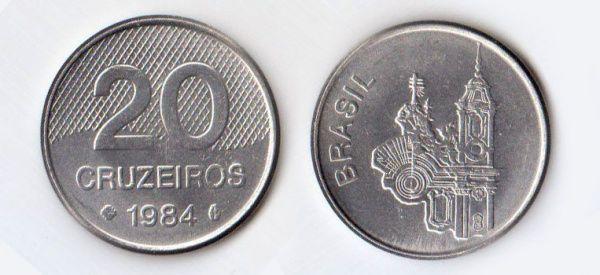 Cruzeiro novo brasileiro (1967-1986) (x) 20 cruzeiros (1981-1986) O: Igreja São Francisco de Assis em Ouro Preto (MG) e o nome do país em português/R: valor.