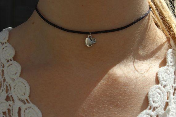 90s Choker Silver Apple Choker Necklace on Black by CelticBijou