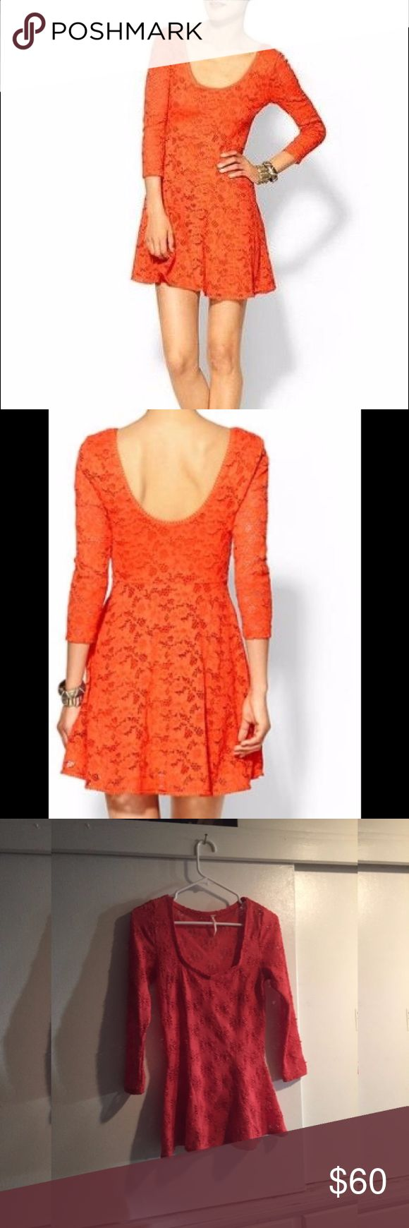 Free People 3/4 sleeve Orange Lace Dress Vibrant, beautiful color. Classy lace dress. Low back, very pretty and a hint of sexy :) fitted but stretchy, easy care. Sold out everywhere. Free People Dresses Mini