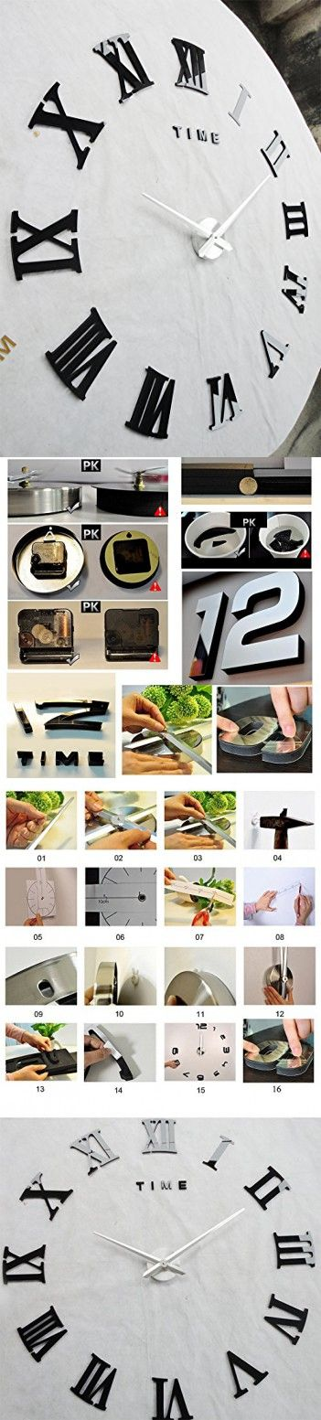 Alrens_DIY(TM)Time Letters Roman Numerals Luxury Large Size Modern DIY Frameless Quartz 3D Large Big Mirror Surface Effect Wall Clock Oversized Clock Removable Home Decoration Living Room Décor Wall Sticker Decal Meeting Room Office Creative Art Watches