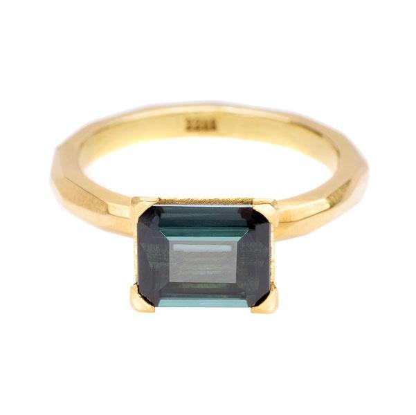 Krista McRae, Facet Ring: 18ct yellow gold, claw set tourmaline