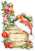 Акварель Рождество граница. Акварель Рождественский фон. Рождественская елка. Симпатичные зимняя птица. Подарочная коробка, оленей, Рождественский фон акварель — стоковое фото #91031202