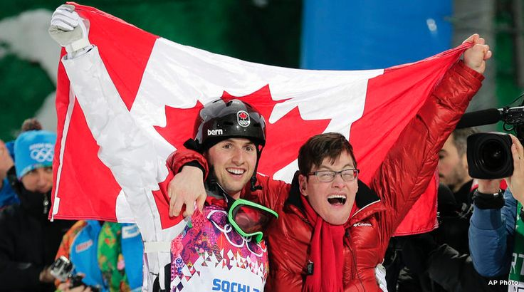 Canada's Alex Bilodeau wins gold in men's moguls to make Olympic history. Such an inspiring story!