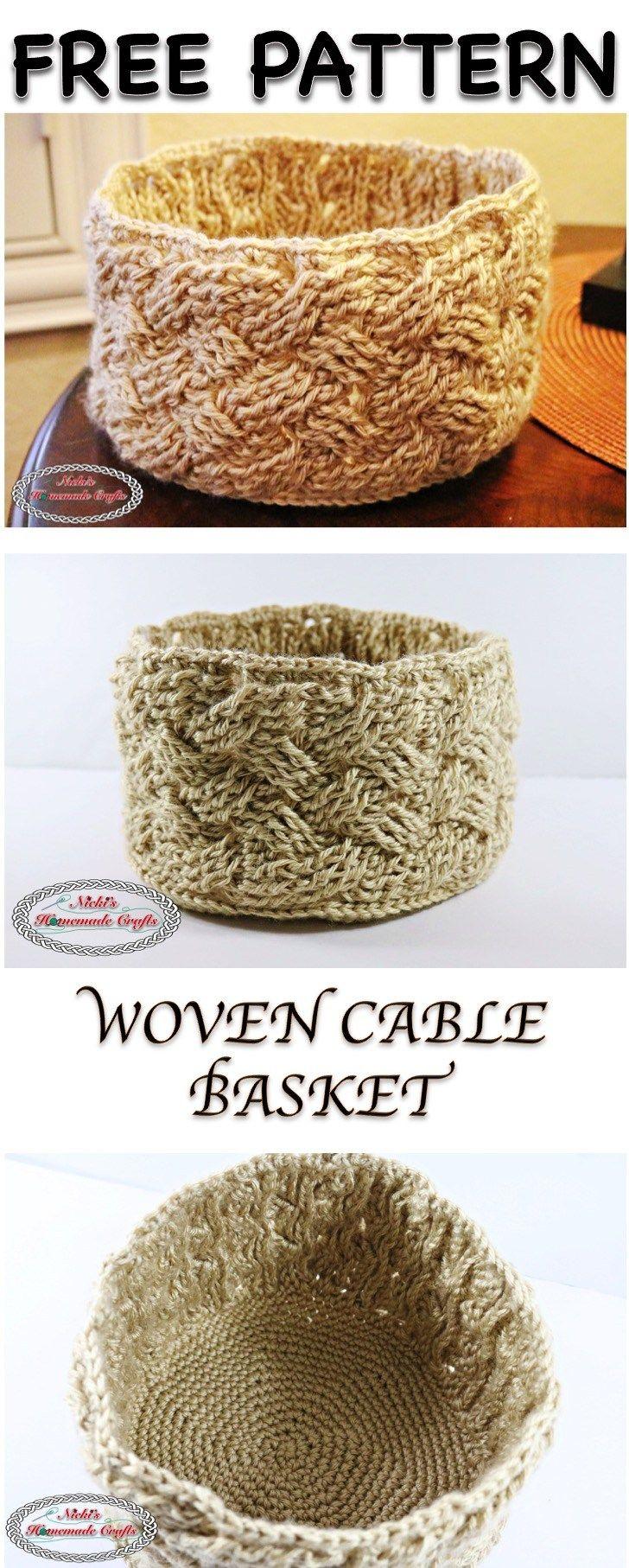 Woven Cable Basket - Free Crochet Pattern
