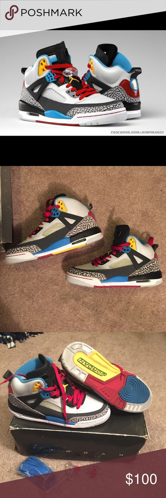 Jordan Spizike Bordeaux Great worn condition. Comes with blue replacement laces (still in packaging) and two lace locks. No creasing it toe. 10-10 condition, you can still see the jumpman on the insoles. Jordan Shoes Sneakers