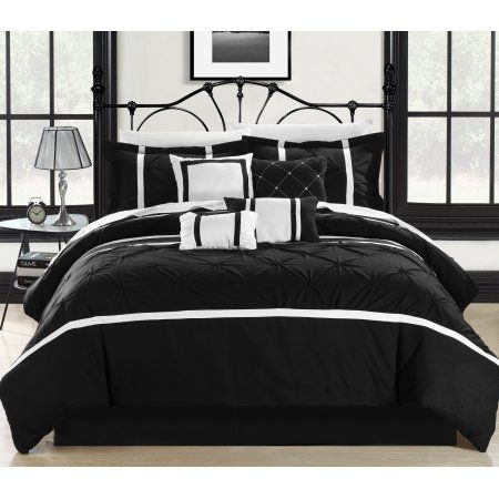 Chic Home Wright 12 Piece Comforter Set Pinch Pleated Embroidered Bed in a Bag Bedding - Sheets Bed Skirt Decorative Pillow Shams Included, Queen Black