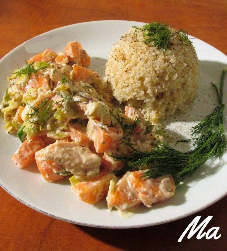 Zalm-wortelstoofpotje met koolhydraatarme rijst. #zalm #wortel #stoofpotje #koolhydraatarm #bloemkool #rijst