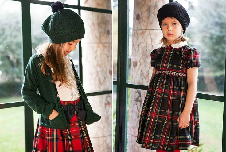 Cute wool and cashmere kids clothes in scottisch style