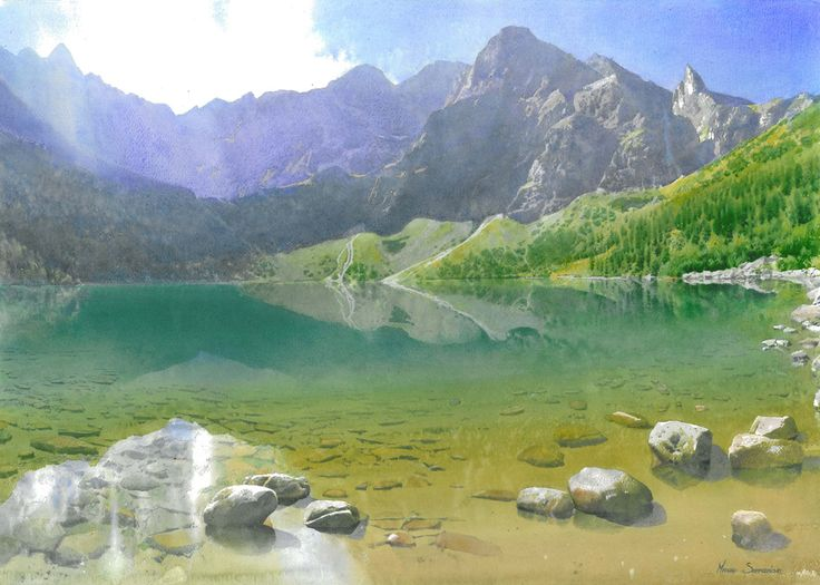 Fresh and light watercolor painting of the mountain landscape with the lake by Michał Suffczyński (Poland). Really realistic effect of sunray and underwater rocks!  #watercolor #watercolour #landscape #mountains #lake #waterreflection #art
