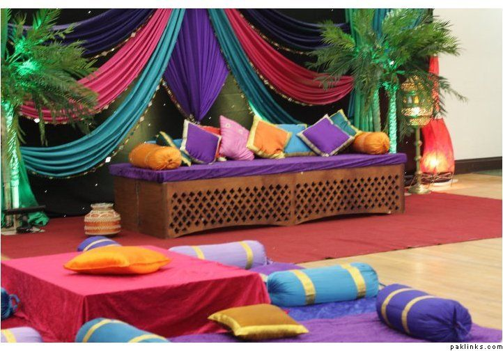"""mehndi decor - ideal height for """"lounge""""-like seating"""