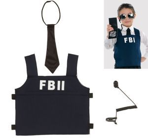 our fbii agent kt for kids features an adjustable fbii printed vest and black radio earpiece - Kids Halloween Radio