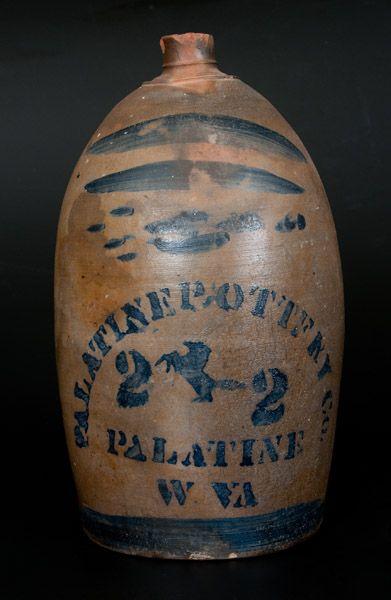 Scarce PALATINE POTTERY Co. / PALATINE / W VA Stoneware Jug w/ Cobalt Rearing Horse Designs -- July 19, 2014 Stoneware Auction by Crocker Farm, Inc.~♥~