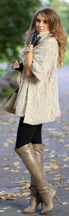 Oversized sweater, leather gloves and over the knee boots..simple and chic