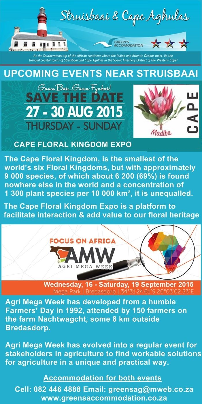 #AgriMegaWeek #CapeFloralKingdomExpo #AccommodationStruisbaai #AgricultureShows #FlowerShows