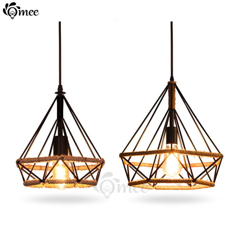 Modern Birdcage Pendant Lights Rope Diamond Iron Minimalist Retro Light Scandinavian Loft Pyramid Lamp Metal Cage W/ Led Bulb